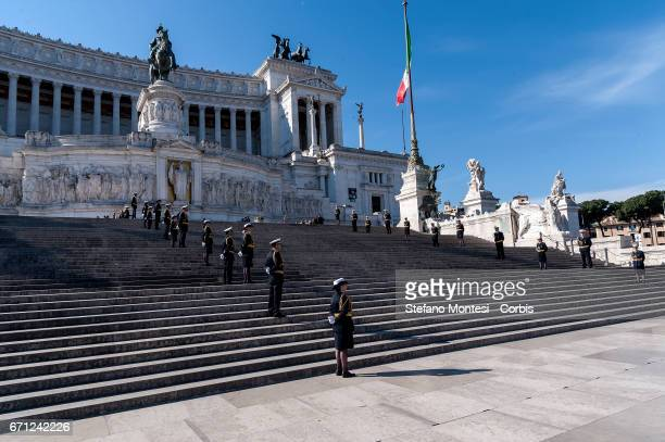 Military personnel line the steps of Altare della Patria as the Mayor of Rome Virginia Raggi lays a laurel wreath at the unknown soldier for the...