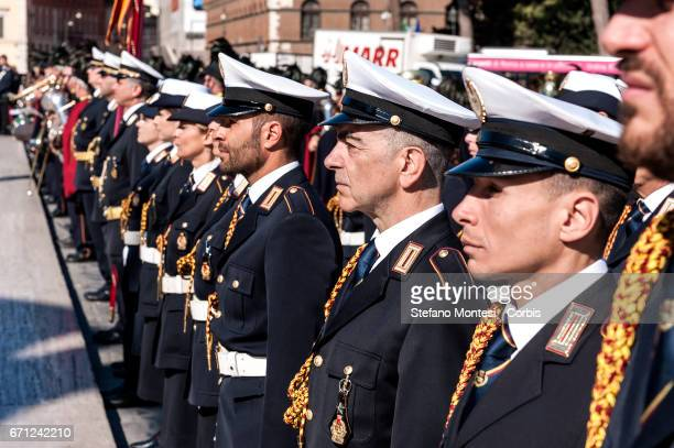 Military personnel lineup during celebrations for 2770th anniversary of the founding of Rome beside the Altare della Patria in Piazza Venezia on...