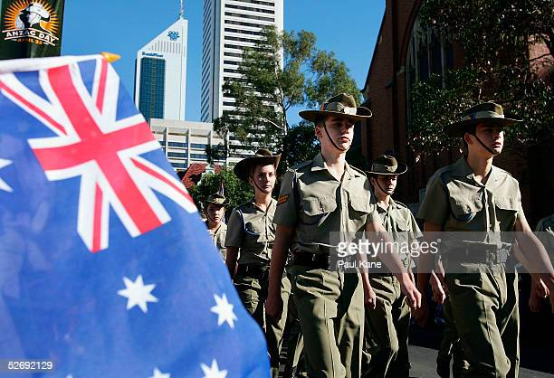 Military personnel march in the parade for Anzac Day on April 25 2005 in Perth Australia Australians and New Zealanders are today commemorating the...