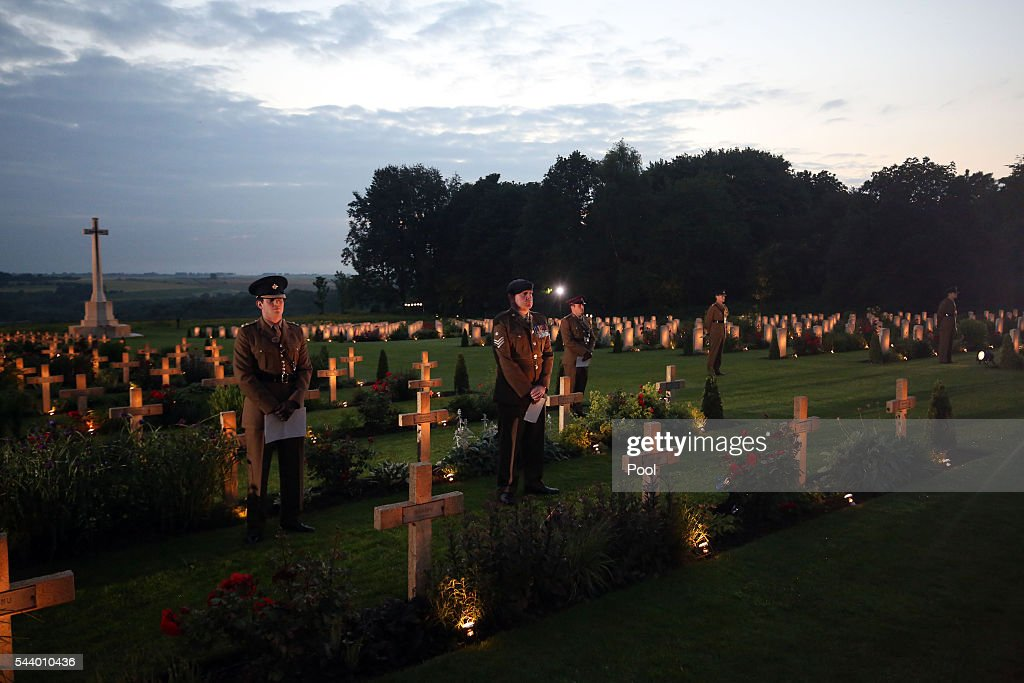 Military Personnel read extracts from letters during part of a military-led vigil to commemorate the 100th anniversary of the beginning of the Battle of the Somme at the Thiepval memorial to the Missing on June 30, 2016 in Thiepval, France. The event is part of the Commemoration of the Centenary of the Battle of the Somme at the Commonwealth War Graves Commission Thiepval Memorial in Thiepval, France, where 70,000 British and Commonwealth soldiers with no known grave are commemorated.