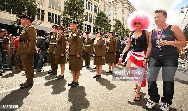 Military personnel take part in the Gay Pride parade on July 5 2008 in London England The parade consists of celebrities floats and performers...