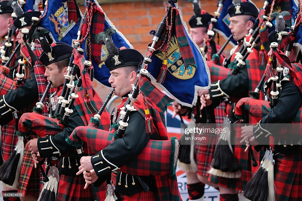 Military pipes and drums take part in the main military parade during the Armed Forces Day National Event on June 25, 2016 in Cleethorpes, England. The visit by the Prime Minister came the day after the country voted to leave the European Union. Armed Forces Day is an annual event that gives an opportunity for the country to show its support for the men and women in the British Armed Forces.