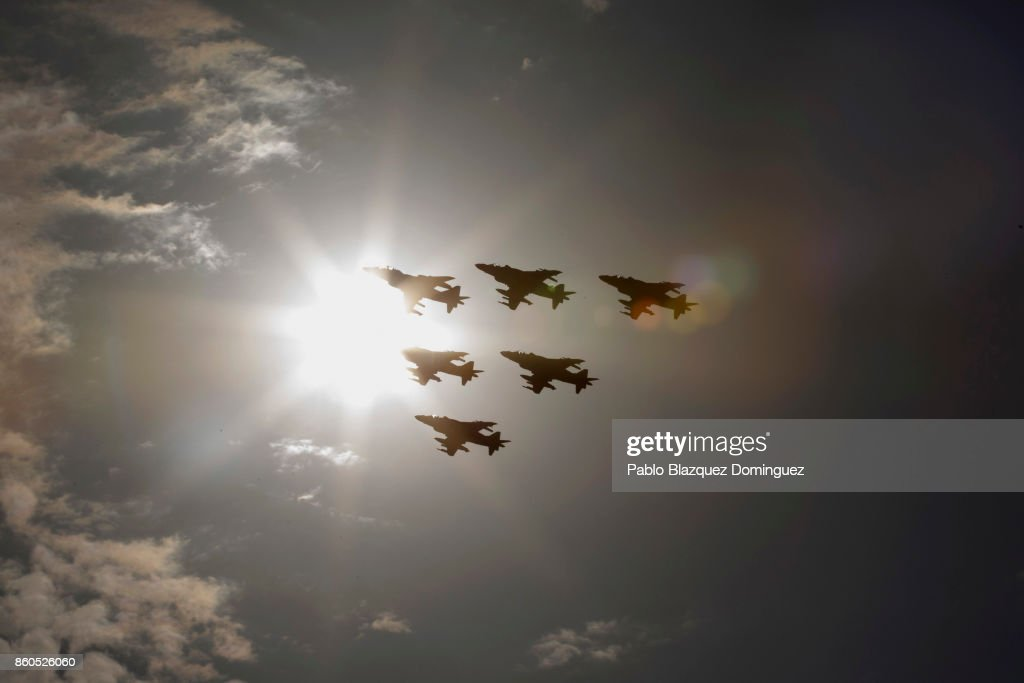 Military planes fly over during Spain's National Day military parade at Castellana Street on October 12, 2017 in Madrid, Spain. Madrid celebrates every October 12 the Spain's National Day also called Hispanic Day with a military parade presided by Royal Family and the Spanish Prime Minister. This year the parade takes place as Spain faces a rise of tensions with Catalonia after the referendum vote for independence.