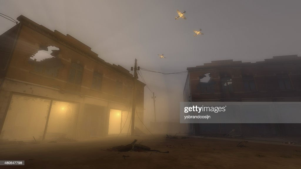 Military Planes Flying Over Buildings in War Zone : Stock Photo