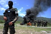 Military police officers incinerate 175 kilos of cocaine at the firing range of the 1st Infantry Battalion on the southern outskirts of Tegucigalpa...