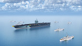 Computer generated 3D illustration with aircraft carrier and flleet of supply ships