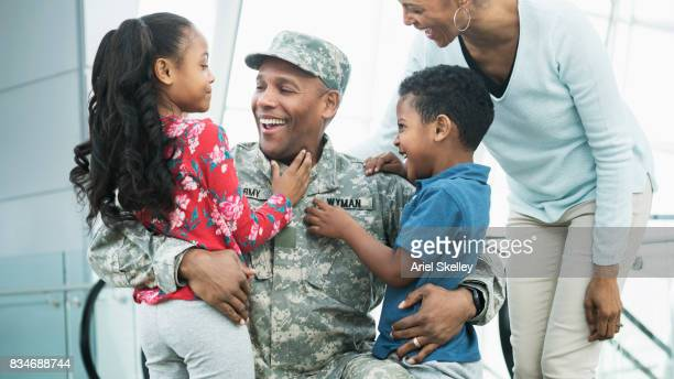US Military Soldier welcomed home by his family
