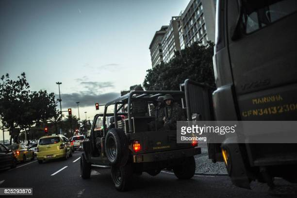 Military soldiers patrol the streets in Rio de Janeiro Brazil on Saturday July 29 2017 Thousands of military soldiers had been activated in Rio de...