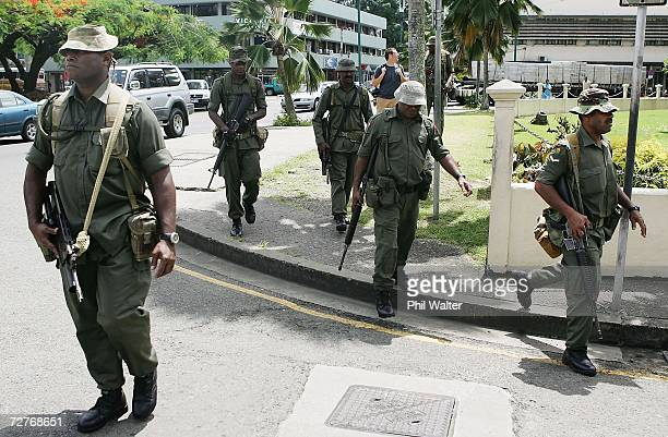 Military soliders patrol the streets of the central business district December 8 2006 in Suva Fiji The military commander Frank Bainimarama has...