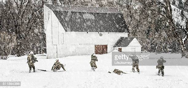 WWII US Military Squadron On Patrol In A Winter Blizzard