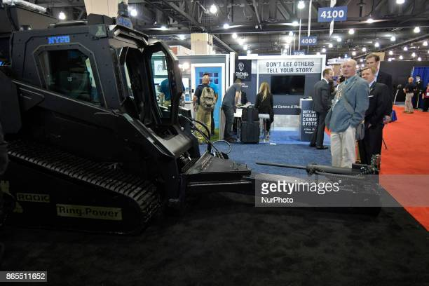 Military style law enforcement gear on display at expo of the annual International Association of Chiefs of Police conference at the Pennsylvania...