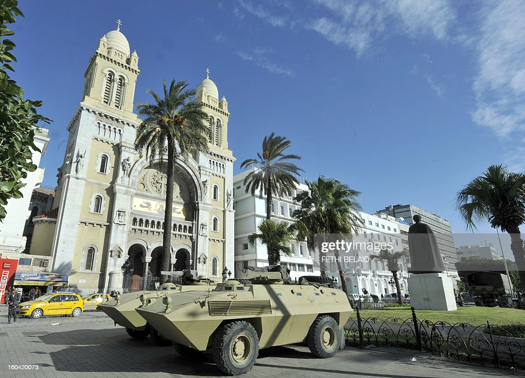 A military tank is parked on the Habib Bourguiba Avenue as the state of emergency is declared since the fall of ex-president Ben Ali of Tunisia on January 31, 2013 in Tunis. Tunisian President Moncef Marzouki should decide today wether to continue the state of emergency or not.