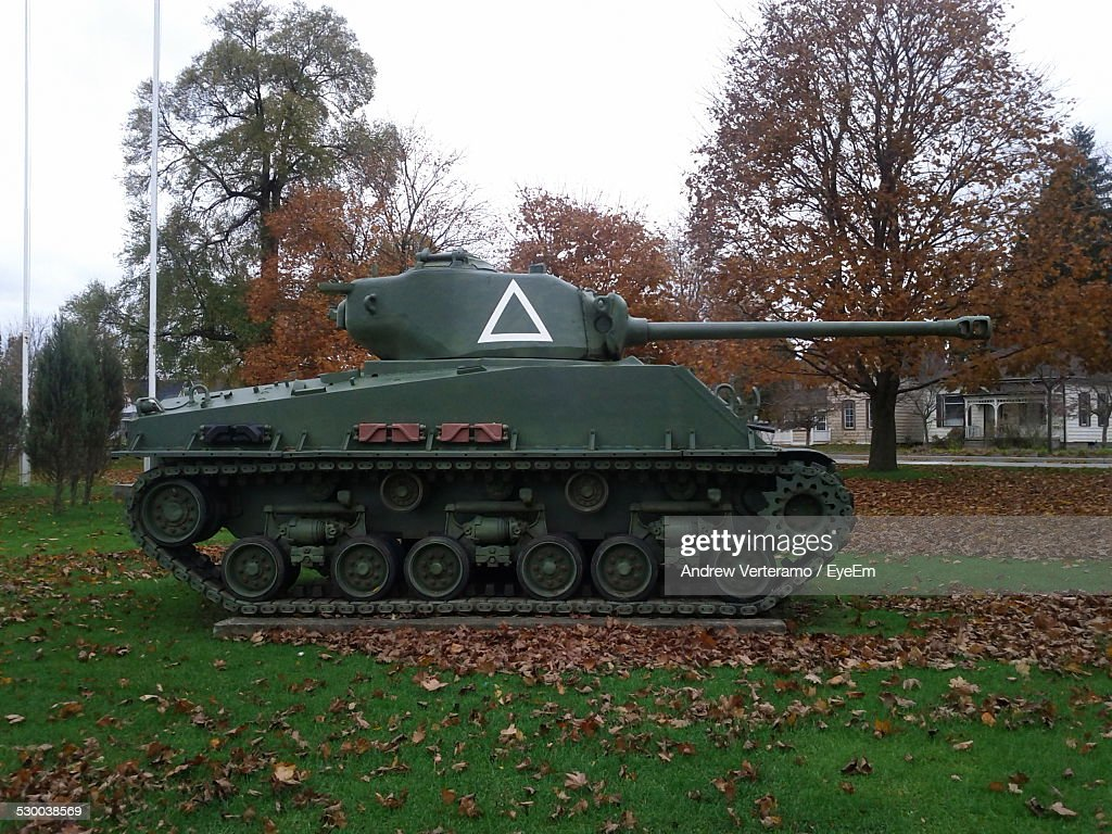 Military Tank On Field During Autumn