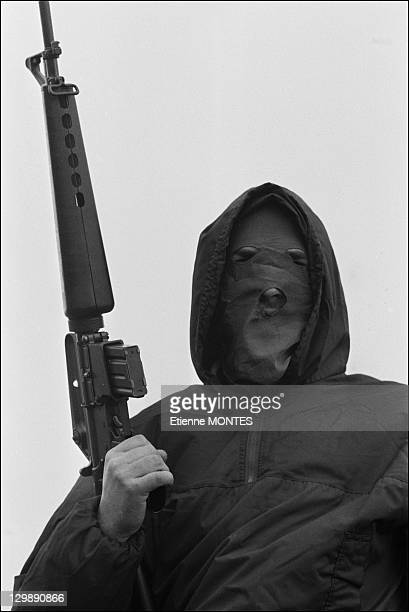 Military training of ETA members look on December 19 1978 in Basque Country in Spain