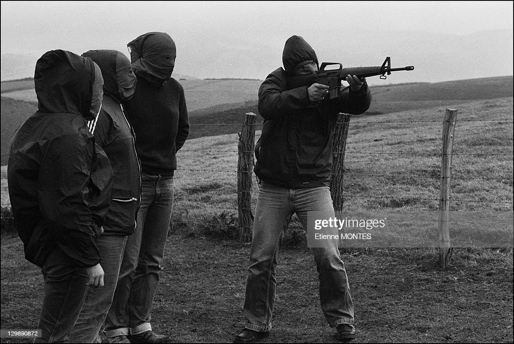 Military training of ETA members train on December 19 1978 in Basque Country in Spain