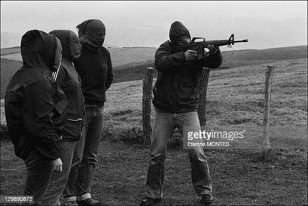 Military training of ETA members train on December 19 1978 in Basque Country in Spain