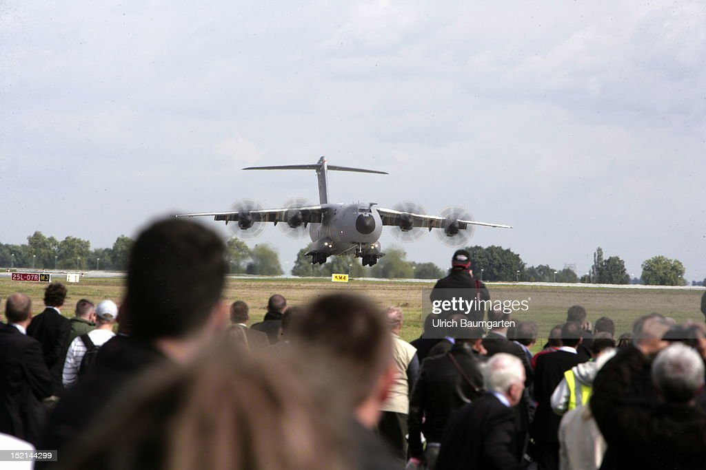 military transporter A400M when landing at the ILA Berlin Air Show on September 12, 2012 in Schoenefeld near Berlin, Germany. The 2012 international air fair runs from September 11 to 16, 2012.