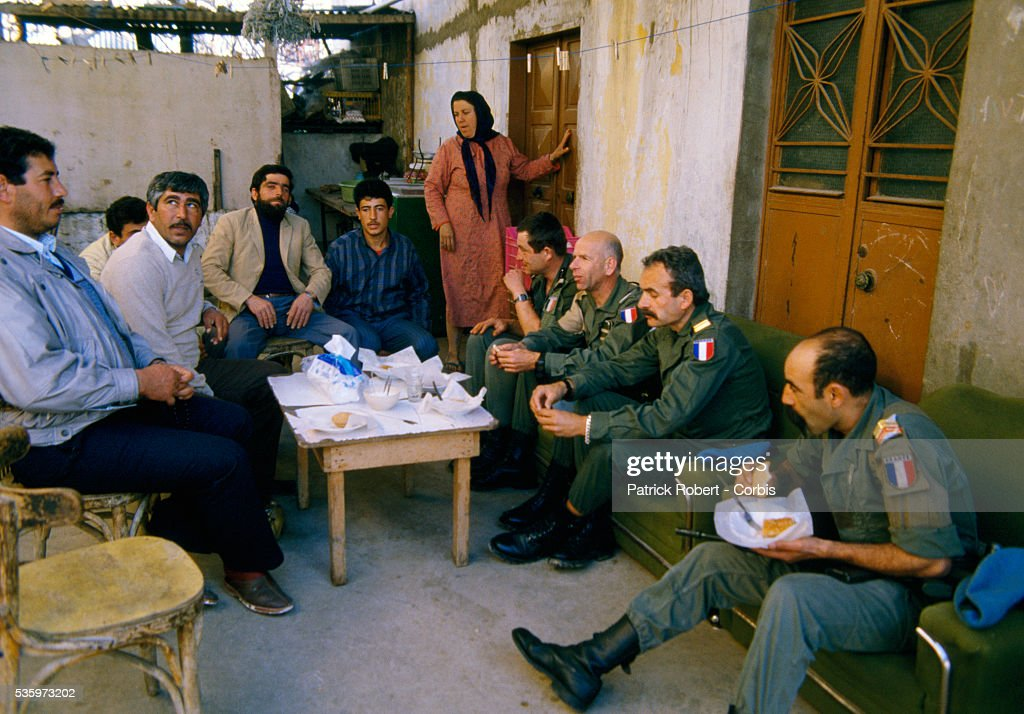 Military troops with the United Nations Interim Force in Lebanon (UNIFIL) on patrol in Naqoura meet with village chiefs. The UNIFIL, established in 1978, was created to confirm Israeli withdrawal from Lebanon and help restore the authority of the Lebanese government.