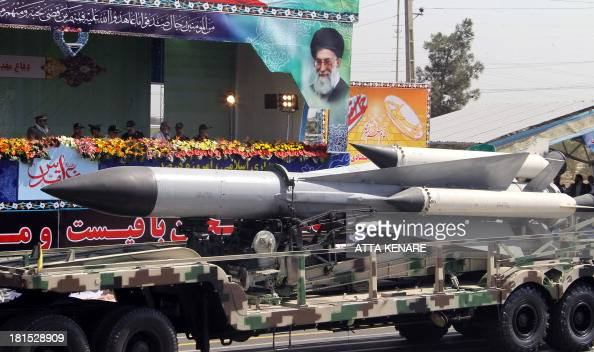 A military truck carries missile during the an annual military parade which marks Iran's eightyear war with Iraq 198088 in the capital Tehran on...