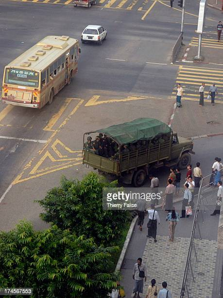 Military trucks are heading to the Sule pagoda one of the most revered Buddhist shrines of the country and a rallying point for the people...