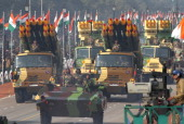 Military trucks carrying SMERCH rockets are paraded along Rajpath during Republic Day parade on January 26 2012 in New Delhi India Republic Day which...