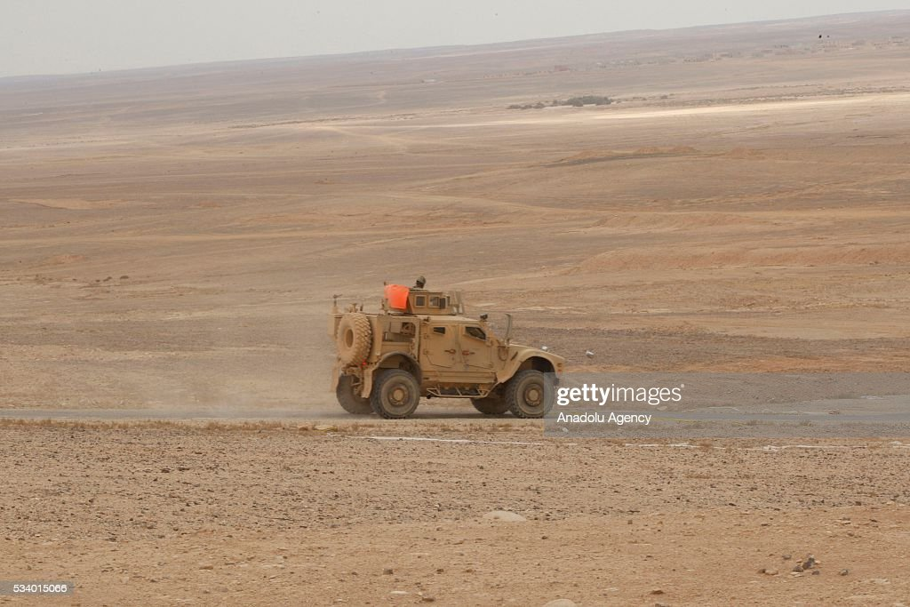 Military vehicle moves on the Azraq desert as it takes part in the joint 'Eager Lion 16' Military Drill of Jordan and US in capital Amman, Jordan on May 24, 2016. Village saving operation is carried out with Challanger and Abrams tanks as they use other ammunition during the military drill.