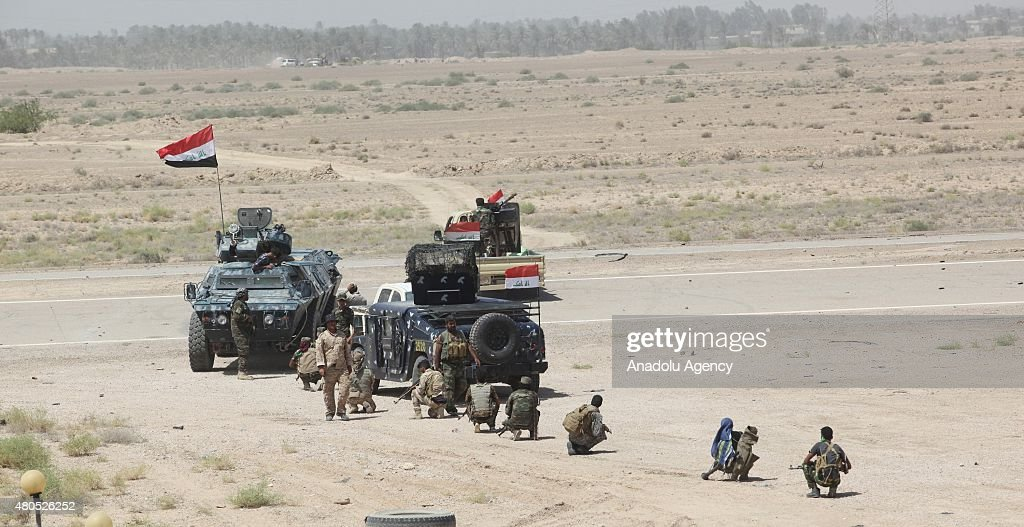 Military vehicles belonging to the Iraqi security forces and Shia Hashdi Shabi forces before attacking Falluja in AlAnbar Province with heavy weapons...