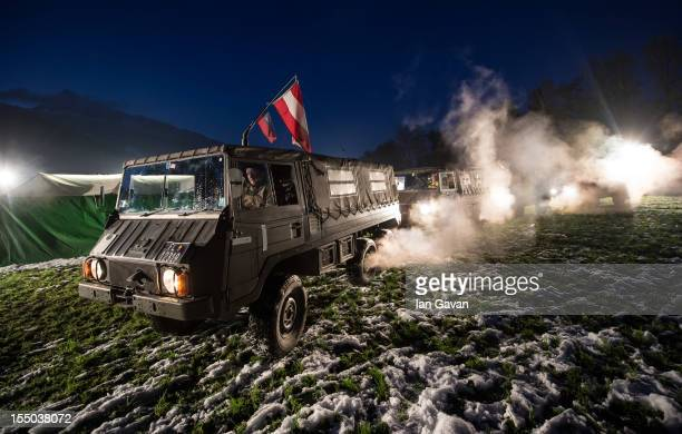 Military vehicles drive up to the base camp during the HALO 4 launch by Xbox 360 on October 29 2012 in Balzers Liechtenstein Xbox 360 became the only...