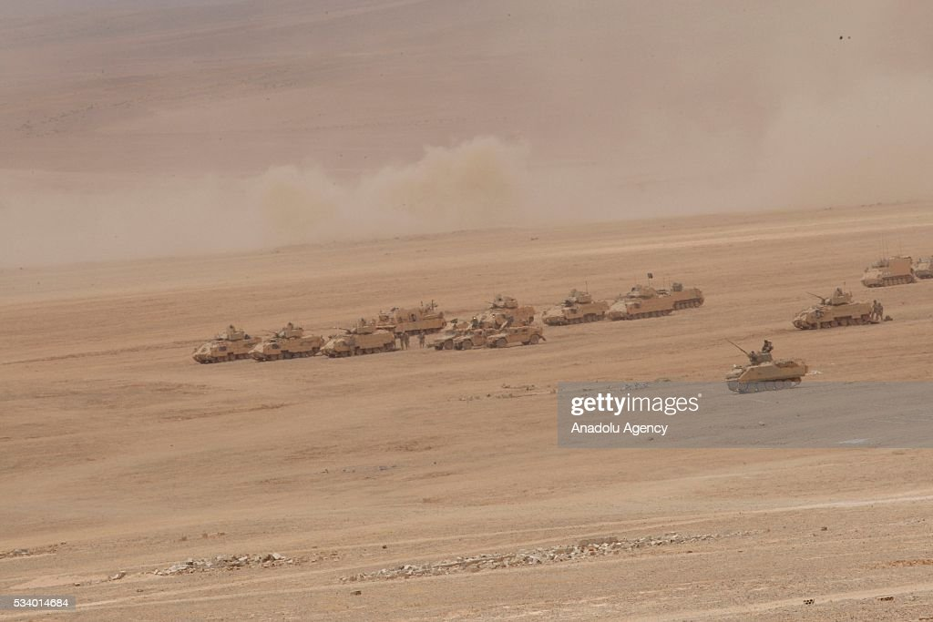 Military vehicles of United States and Jordan move on the Azraq desert as they take part in the joint 'Eager Lion 16' Military Drill of Jordan and US in capital Amman, Jordan on May 24, 2016. Village saving operation is carried out with Challanger and Abrams tanks as they use other ammunition during the military drill.