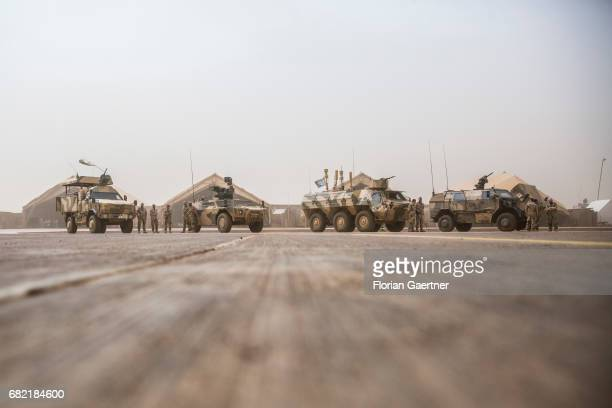 Military vehicles on a UN base in Mali on April 07 2017 in Gao Mali