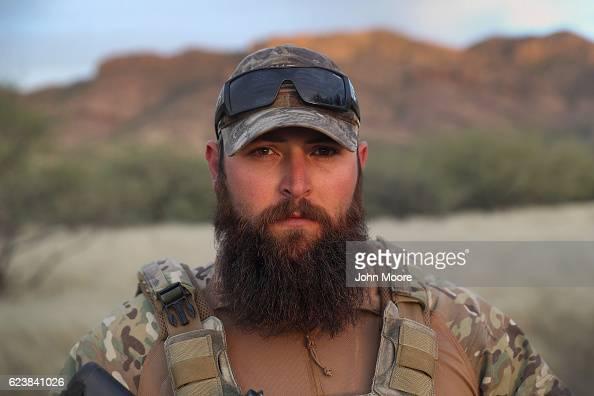 S military veteran Chris stands in the Arizona Border Recon camp near the USMexico border on November 16 2016 in Pima County Arizona He said he...
