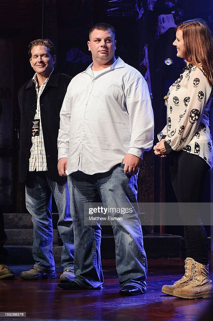U.S. Military Veteran Jon Moldovan (C) attends the 'Rock Of Ages' on Broadway Military Tribute Night at Helen Hayes Theatre on October 2, 2012 in New York City.