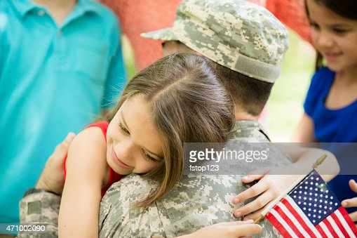 Veterano de Guerra militar dos EUA, congratularam-se com a casa de família. Crianças, envolve.