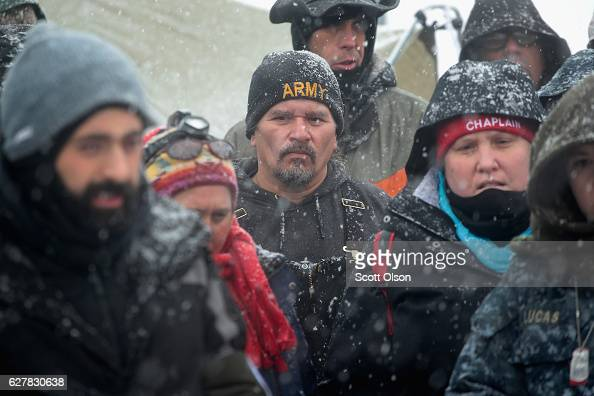 Military veterans are briefed on coldweather safety issues and their overall role at Oceti Sakowin Camp on the edge of the Standing Rock Sioux...