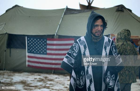 Military veterans hang out at one of the veteran camps at Oceti Sakowin Camp on the edge of the Standing Rock Sioux Reservation on December 5 2016...