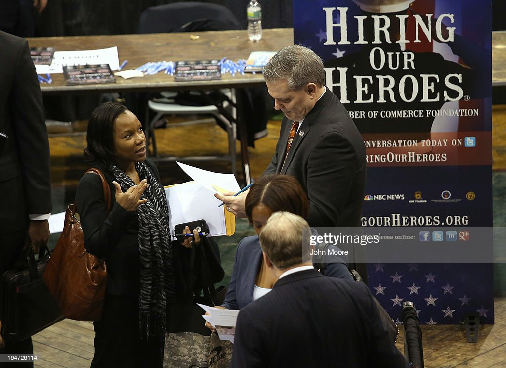 U.S. military veterans meet potential employers at the Hiring Our Heroes job fair held on March 27, 2013 in New York City. Hundreds of veterans and their spouses turned out to meet more than 100 employers participating at the second annual event, hosted by the U.S. Chamber of Commerce National Chamber Foundation. Lead sponsors were Capital One Financial Corporation and Toyota.