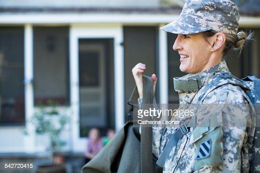 Military Woman Leaving Home