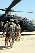 Joint Base Balad, Iraq, April 21, 2009 ?? Military working dog handlers board a helicopter with their MWDs during training. The training teaches the handlers and MWDs how to safely and properly enter