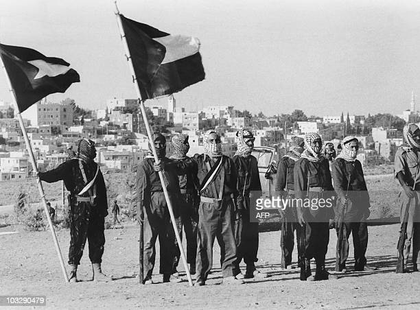 Militiamen of El Fatah Palestinian resistance movement parade in Amman Jordan on August 17 1970 at the end of a training chaired by Yasser Arafat...