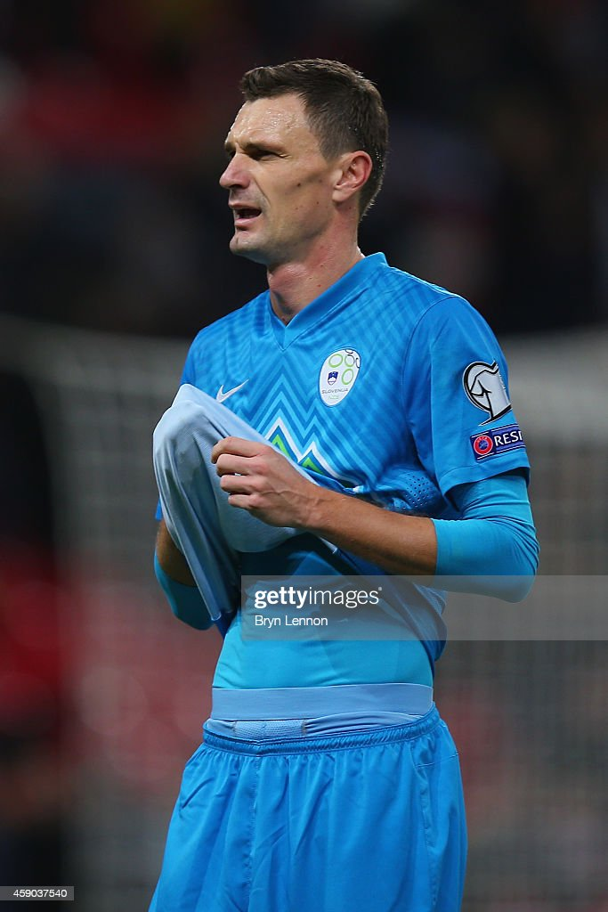 Milivoje Novakovic of Slovenia in action during the EURO 2016 Qualifier Group E match between England and Slovenia at Wembley Stadium on November 15...