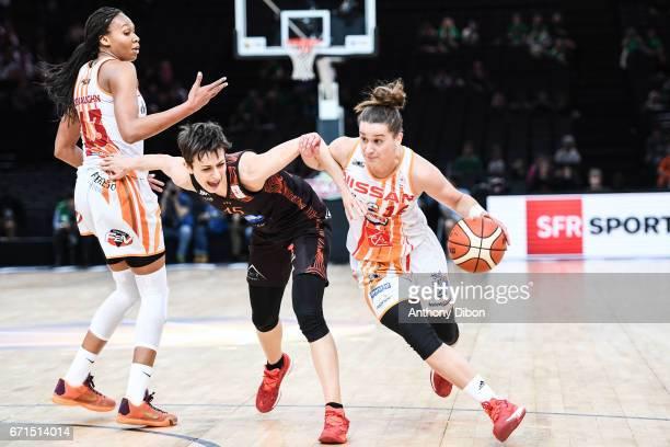 Miljana Bojovic of Bourges and Lidija Turcinovic of Charleville Mezieres during the women's Final of the French Cup between Charleville Mezieres and...