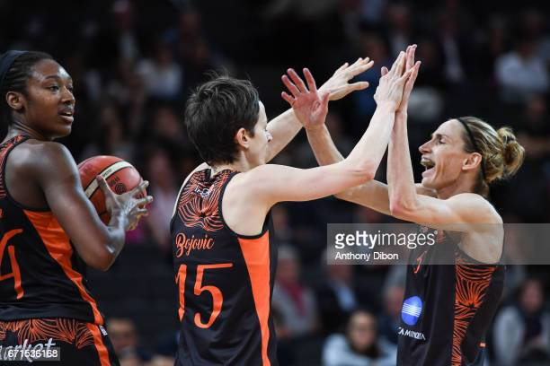 Miljana Bojovic of Bourges celebrates with Paoline Salagnac during the women's Final of the French Cup between Charleville Mezieres and Bourges...