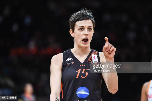 Miljana Bojovic of Bourges during the women's Final of the French Cup between Charleville Mezieres and Bourges Basket at AccorHotels Arena on April...