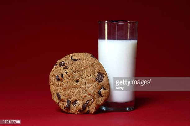 Milk and Cookie on Red
