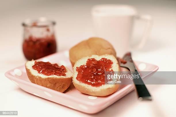 Milk Bread with strawberry jam