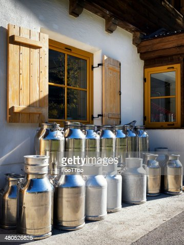 milk canisters : Stock Photo