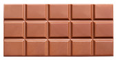 Milk chocolate bar isolated on white background with clipping path