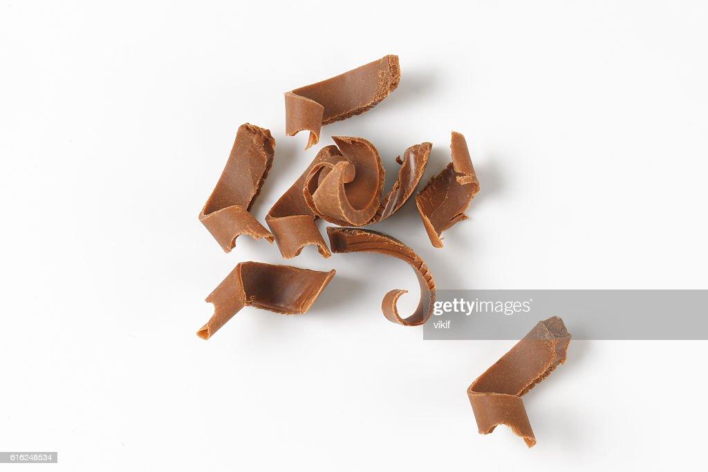 milk chocolate shavings : Stock Photo
