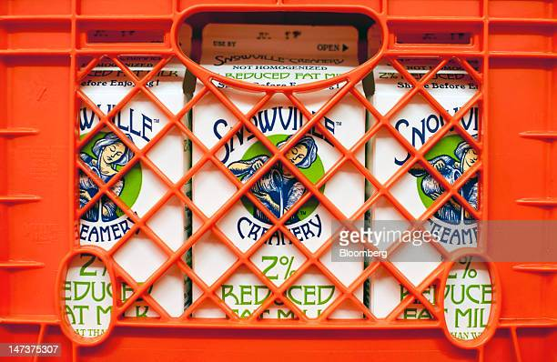 Milk crates sit for delivery at the Snowville Creamery in Pomeroy Ohio US on Thursday June 28 2012 Snowville Creamery milk and cream is sourced from...