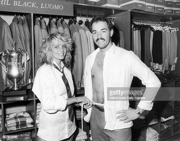 �Milk Cup suits for Liverpool players Bruce Grobbelaar tries on his new suit with a bit of help from attractive shop assistant 20yearold Jill Watson�...